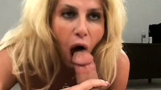 Voluptuous blonde milf in black stockings Penny Porsche has fun with two young guys