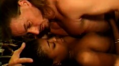 Busty black whore services her white client in his motel room with fervor