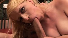 Blonde MILF moans like a freak while taking care of her lover