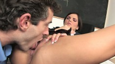 Mackenzie riding her French teacher's mighty cock right on his desk