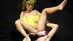 Gina Opel trades head and gets both holes fucked wearing her tutu