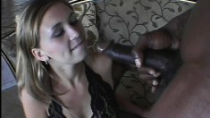 Vanilla Skye chokes down a big black dong and gets her cunt hammered