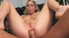 Dirty sluts get ass fucked in a foursome and eat their creampie cum