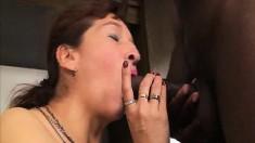 Mature chunky slut Analida gets into an interracial fuck fest