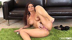 Syren De Mer can't stop toying her oversensitive narrow butthole