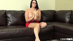 Attractive brunette MacKenzee Pierce strips her red dress unveiling her curvy body