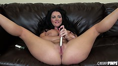 Sexy goddess Sophie Dee gets on that couch and spreads her legs