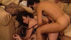 Ona Zee is in an orgy of cocks and she sucks dick and gets all holes filled