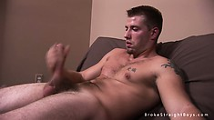 Dude with a nice dick gives it a mean stroking until he cums