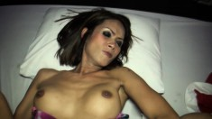 Tranny gives him a massage and her lady dick, then gets her ass nailed too