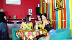Three bodacious babes seduce a pair of hung guys for a wild experience