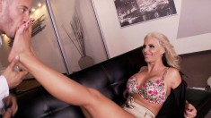 Slender blonde loves to play with a hot guy with a foot fetish