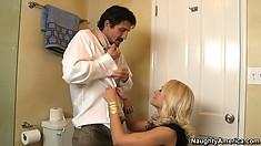 Sexy blonde Briana Blair seduces her man in the bathroom and blows him