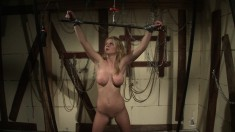 Busty blonde hottie gets her ass whipped and tortured into submission