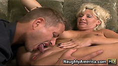 JoAnna Storm blows the cable guy bears her tits and offers her pussy