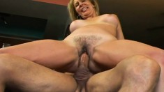 Busty blonde mom has a young stallion devouring and fucking her peach