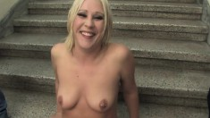 Sultry blonde with a splendid ass Krissy Leigh pleases two big sticks
