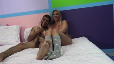 Jennifer White And Brianna Brooks Get Nailed By A Horny Boy On The Bed