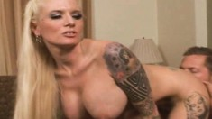 Bodacious tattooed blonde Monroe Valentino gets pounded by a hung guy