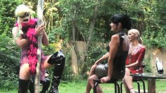 Mistress Carmen And Friends Fuck Over Their Slave And Toy Some Pussy