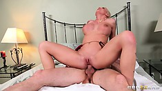 Riding that cock sends a rush of excitement and bliss through the blonde's hot curvy body