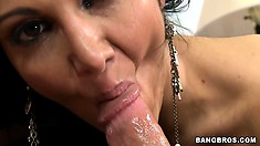 Bootylicious lass Ava Adams works out her coochie and sucks big bat