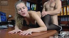 Barbara lets her nylon-loving boss probe her mouthwatering wet snatch