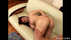 Tramp-stamped cougar gets a mouth and butt full of hard dick