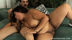 Chunky Asian lady with a big booty has a horny older guy fucking her sweet pussy