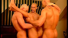 Bald men get together to have a wild foursome for the cameras