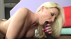 Blonde with a rocking rack gets pummeled by a big black cock