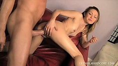 Petite Juelz screams with pleasure while taking in a relentless fun stick