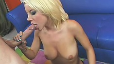 Kinky blonde with a petite rack gets her freak on with a fat cock