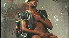 Ripped ebony gladiator is ready to put his love spear to action