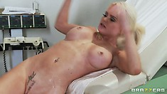 After that wild pussy drilling action the busty blonde is, for now, feeling much better