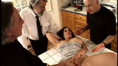 While her hubby can't get his cock stiff, she's getting skewered with two