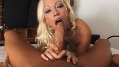 Sexy blonde gets anal and she rubs her wet pussy until she cums