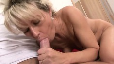 Slutty fair-haired girl gets hard pussy stretching from her boy