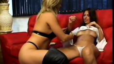 Janelle and Julia add some fetish twist into their lezzo sex video