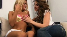 Older lady initiates young Kayla to the world of pussylicking