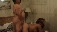 Seductive Latina in white lingerie maldly rides the midget's big cock