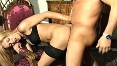 Carvella is a hot shemale and strokes her cock while blowing them