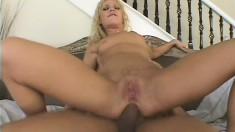 Skinny blonde bimbo gets her ass wrecked hard by a big schlong
