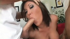 Curvy brunette Claire Dames blows four big shafts and gets cum all over her face