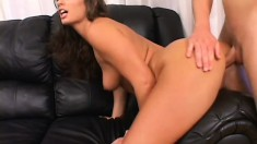 Enticing brunette with a heavenly ass gets her juicy peach drilled nice and deep