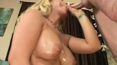 Stacked blonde mom Victoria Vonn has a stud drilling her sweet twat on the couch