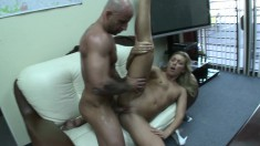 Slim blonde with a marvelous ass Ally Kay gets banged deep and rough