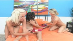 Marlie Moore invites two alluring girls for a wild lesbian threesome