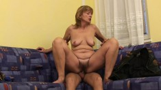 Wild mature Una wants nothing but a young stud drilling her hairy cunt