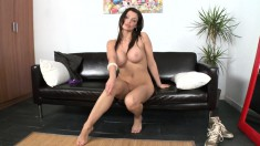Stacked brunette Aletta Ocean puts her body and her skills on display
